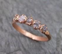 wedding photo - Raw Pink Diamonds Rose Gold Ring Wedding Band Custom One Of A Kind Gemstone Ring Rough Diamond Ring