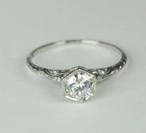 wedding photo - Simply Elegant Art Deco Engagement RIng