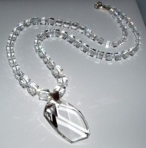 wedding photo - Swarovski Crystal Cube Necklace And Pendant