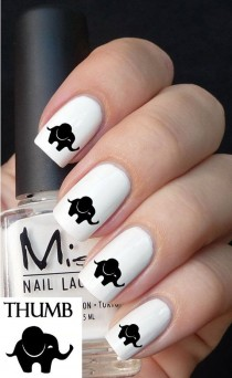 wedding photo - Cute Baby Elephant Nail Decals By DesignerNails On Etsy