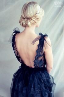 wedding photo - Black Lace Evening Dress, Open Back Dress, LAST SAMPLE