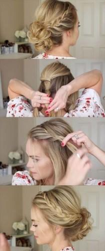 wedding photo - 24 Beautiful Bridesmaid Hairstyles For Any Wedding - Lace Braid Homecoming Updo Missy Sue - Beautiful Step By Step Tutorials And Ideas Fo…
