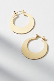 wedding photo - Gold Crescent Mini Hoop Earrings