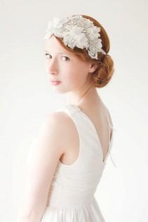 wedding photo - Lace Flapper Bridal Headband, Ivory Wedding Headpiece, Crystal Headpiece, Statement Bridal Headpiece, Rhinestone Headband - Heart Whispers