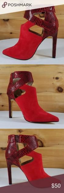 wedding photo - Luichiny Tippy Toes Cut Out Red Snake Ankle Boot Boutique
