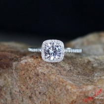 wedding photo - Forever One Moissanite & Diamond Halo Engagement Ring Round Cushion Cathedral 1ct 6mm 14k 18k White Yellow Rose Gold Custom Promise