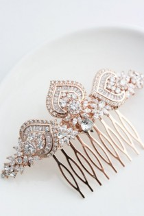 wedding photo - Rose Gold Bridal Hair Comb Rose Gold Wedding Headpiece Crystal Hair Comb Rose Gold Wedding Hair Clip Art Deco Bridal Hair Accessories EVIE L