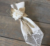 wedding photo - Utensils Tied With Burlap (we Used Silver Plastic And At First Look Everyone Thought That It Was Real Silver!) Sweet!