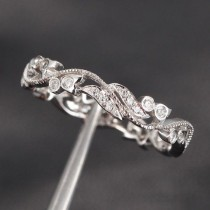 wedding photo - Unique Pave 0.30ct Diamonds 14K White Gold Floral MILGRAIN Wedding Band Engagement ...