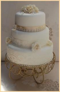 wedding photo - WHITE AND CHAMPAGNE VINTAGE WEDDING CAKE LACE DIAMANTE TRIM DIAMANTE TRIM- ROSAMUND- CHAMPAGNE