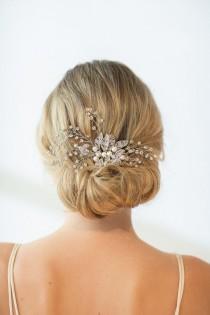 wedding photo - Wedding Hair Comb, Wedding Hairpiece, Crystal Bridal Comb, Bridal Headpiece, Freshwater Pearl Beaded Hair Comb, Bridal Hair Comb