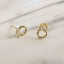 wedding photo - Diamond Stud Earrings, Diamond Crown Stud Earrings, 14K Gold Dainty Earrings, Delicate Everyday Diamond Earrings