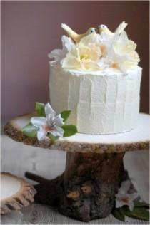 wedding photo - DIY: Tree Pedestal Cake Stand - Once Wed