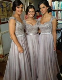 wedding photo - 2014 Fashion Gray Silver Bling Chiffon Long Cheap By HedyDresses, $99.00  These!!! But Maybe In Navy Blue