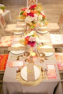 wedding photo - Neon Tablescape With Chains And Graffiti