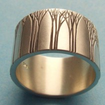 wedding photo - Men's Wedding Ring Art Deco Ring Tree Wedding Ring Wedding Band 12mm Sterling Silver