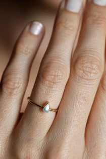 wedding photo - Pearl Engagement Ring, Minimalist Pearl Ring, Pear Shaped Pearl Ring, 14k Gold Pearl Ring, 18k Gold Pearl Ring, Pearl Ring Rose Gold, Ring