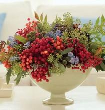 wedding photo - Footed Bowl With Berry Arrangement When Arranging, Think Triangles: Start By Sticking Three Of The Heavier Branches Into The Bowl At An…