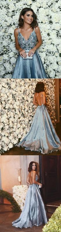 wedding photo - Luxurious A-line Straps Blue Formal Evening Dress,Sexy Backless Beaded Deep V Neckline Prom Dresses, PD0497
