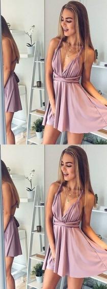 wedding photo - A-Line Deep V-Neck Short Blush Elastic Satin Convertible Style Homecoming Dress