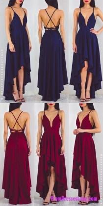 wedding photo - Prom Dress, Long Chiffon Prom Dress, Navy Blue Prom Dress, Red Prom Dress, Party Dress, High Low Prom Dress MT20187822