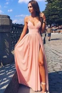 wedding photo - Pink Spaghetti Strap V Neck Simple Long Evening Dress,Cheap Prom Dress, M106