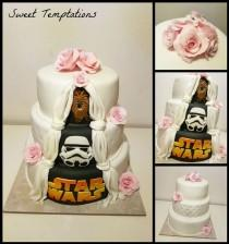 wedding photo - Star Wars Wedding Cake Wedding Cake With Little Surprise For The Husband On The Back. He Is A Big Star Wars Fan.
