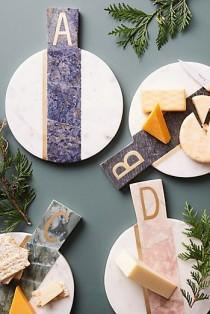 wedding photo - Marbled Monogram Cheese Board