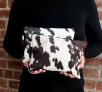 wedding photo - Cowhide bag,Black Cowhide, Brown Cowhide,Eco Friendly Faux cowhide leather Clutch Bag, Cowhide Purse, Animal print, Cow print, Holiday gift