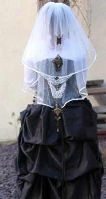 wedding photo - Steampunk Vintage Style Butterfly Madness Bridal Ivory 2 Tier Wedding Veil