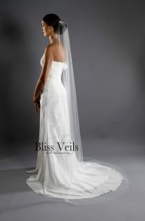 wedding photo - Thin Narrow Veil - Sheer Veil - Slim Veil - One Tier - Raw Edge - Chapel Length - Available in 10 Sizes and 11 Colors - Fast Shipping