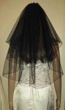 "wedding photo - Black veil 2 Tiers 21""/26"" Gothic party Halloween wedding veil Pencil edged full circle style. FREE UK POSTAGE"