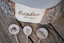 wedding photo - Mr. & Mrs. Wood Slice Cake Topper - Handmade Wood Burned - Buy in Addition to Custom Match Base - Rustic Country Woodland Wedding Decoration