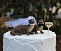 wedding photo - River Otter Wedding Cake Topper, Bride-Groom-Animal-Wooden Raft-Water-Wildlife-