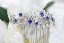 wedding photo - sapphire blue crystal bridal hair comb for bride royal blue rhinestone silver hair comb blue wedding hair comb bridal hair accessories blue