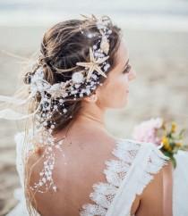 wedding photo - Beach Wedding Starfish and Pearl Wired Hair Vine, Nautical Wedding Headpiece, Destination Wedding Headband Beaded Tiara with Star fish