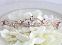 wedding photo - Rose gold tiara, Wedding tiara, Wedding hair accessory, Rose gold headpiece, Rose gold crown, Bridal tiara, Wedding head piece, Hair piece