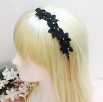 wedding photo - Black Headband, Black Lace Bridal Headband, Lace Headband, Bridal Headband, Wedding Headband, Bridesmaid Headband, bridesmaid headpiece