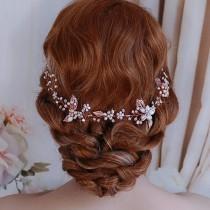 wedding photo - ROSE GOLD Bride Hair Wreath Vine Headpiece Boho Bridal Head Piece Accessory Weddings Brides Wedding Bride Party Pearl Jewelry Accessories