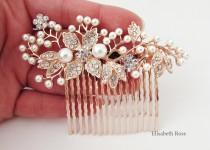 wedding photo - Decorative Rose Gold Wedding Hair Comb, Crystal Hair Comb for Wedding, Rose Gold Bridal Hair Comb, Wedding Day Hair Comb, Hair Jewelry