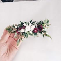wedding photo - Greenery and burgundy and white headpiece, gold leaf hair piece, white hair clip, bridal hair piece, white quarter wreath, bridal hair vine