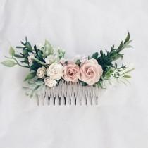wedding photo - Hair comb Pale pink and dusty rose and grenery headpiece, floral hair piece, pale pink hair clip, bridal hair piece, blush pink comb, leavfy