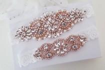 wedding photo - Rose Gold Bridal Garter, Lace Wedding Garter Set, Bridal Garter Set, Vintage Wedding-Style 795