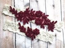 wedding photo - Bugundy wedding garter, bridal garter burgundy, Wine garter set, Wine Wedding Garter, Burgundy garter belt, Wedding Garter Set