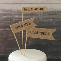 wedding photo - Custom wedding cake topper, contemporary cake flags, cake banner, hessian flags with black letters for rustic wedding or country wedding