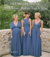 wedding photo - Steel Blue Bridesmaid Dress, infinity dress, Multiway Dress, Convertible dress, Multi Wrap dresses
