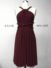 wedding photo - Burgundy Wine Red SHORT Infinity Dress Convertible Formal Multiway Wrap Bridesmaid Dress Cocktail Evening Dress Christmas Party Wedding