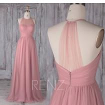 wedding photo - Bridesmaid Dress Dusty Pink Tulle Dress,Wedding Dress,Illusion Sweetheart Maxi Dress,Halter Sleeveless Prom Dress,A-Line Party Dress(HS488B)