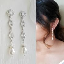 wedding photo - Bridal Earrings Long Pearl Drop Wedding Earrings Pearl Crystal Dangle Earrings Rose Gold Earrings Wedding Jewelry, Hayley