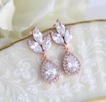 wedding photo - Rose Gold earrings, Wedding jewelry, Bridesmaid earrings, Bridal earrings, Crystal earrings, Wedding earrings, Teardrop earrings, Simple